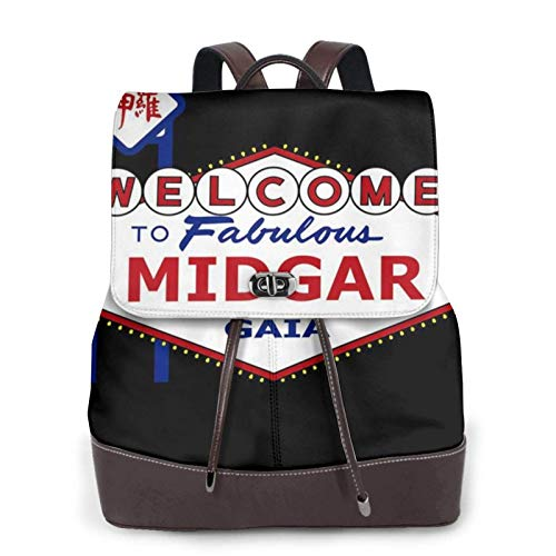 Viva Midgar Final Fantsy VII Las Vegas Women's Bapack, College Girl School Bag, Ladies Travel Bapack, Ladies Leather Bapackck