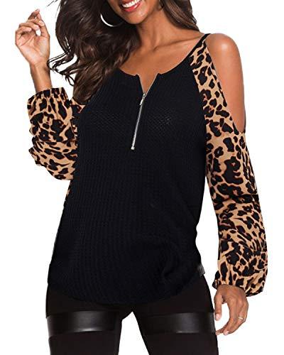 YOINS Donna Camicetta Maniche Lunghe Maglia Spalle Scoperte Maglie Girocollo Camicia Tunica Stampata Casuale Leopardo XS