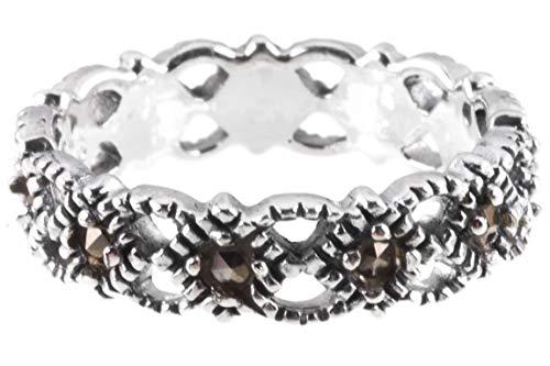 WINDALF Schmaler Damen Ring ZAIDA 4 mm Mittelalterliche Ornamentik Markasit-Ring 925 Sterlingsilber (Silber, 58 (18.5))