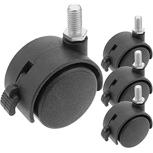 PrimeMatik - Rotelle pivotanti Ruote di Nylon con Freno 40 mm M6 4 Pack