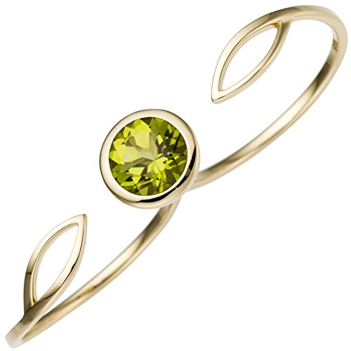 JOBO Damen Zweifinger Ring 585 Gold Gelbgold 1 Peridot grün Goldring Zweifingerring Größe 60