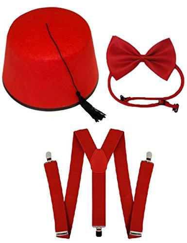 Lollipop ropa disfraz 3pc tiempo Traveller Fez Sombrero tirantes Dr Who espacio Set rojo Smart Abu
