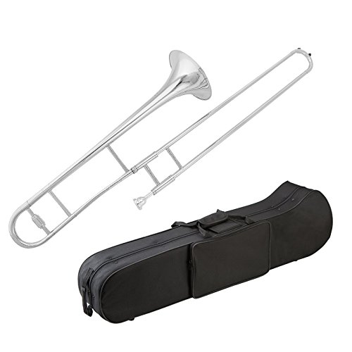 Glory Brass B Flat Trombone with Case and Mouthpiece, Nickel Silver Color,...