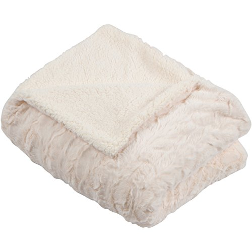 "SLPR Faux Fur Plush Fleece Throw Blanket with White Sherpa (50"" x 60"", Ivory) 