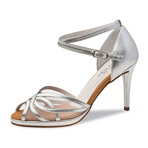 Anna Kern - Damen Tanzschuhe 950-80 - Leder Silber - 8 cm [UK 4.5]