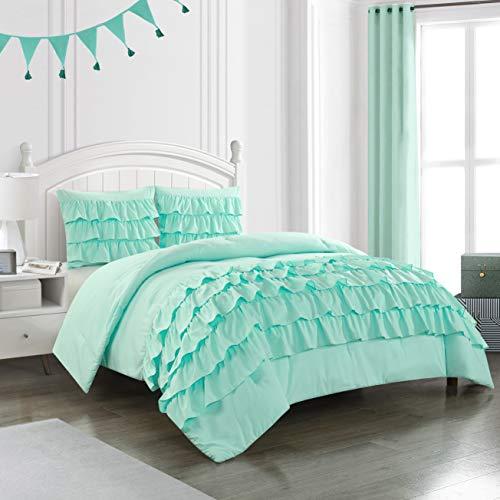 Heritage Kids Ruby Ruffle 3 Piece Comforter Set, Mint, Full/Queen