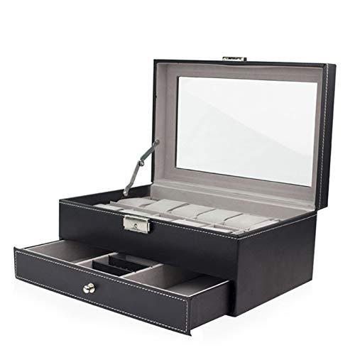 Keliour Caja de almacenamiento para reloj de 12 capas de doble capa para gafas de sol, caja de almacenamiento de piel sintética (color: negro, tamaño: talla única)