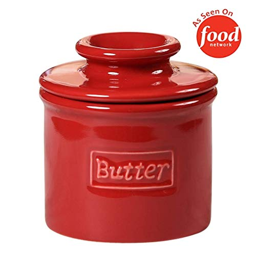 Butter Bell - The Original Butter Bell Crock by L. Tremain, French Ceramic Butter Dish, Café Retro Collection, Maraschino Red