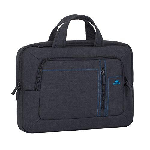 """RIVACASE Tasche für Laptops bis 13.3"""" – Leichte & stillvolle Notebooktasche mit Zubehör Fächern & wasserabweisenden Material – Schwarz"""