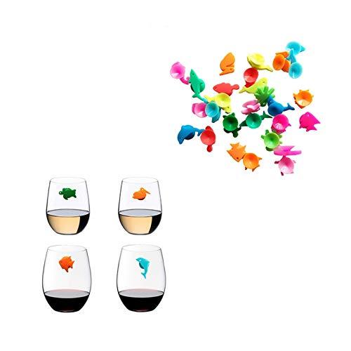 Inicio elaboración de la cerveza de acero inoxidab Signo de la taza de la fiesta del identificador de la copa de beber (colores mezclados) 12 unids de silicona marina animales vino vidrio marcador cre