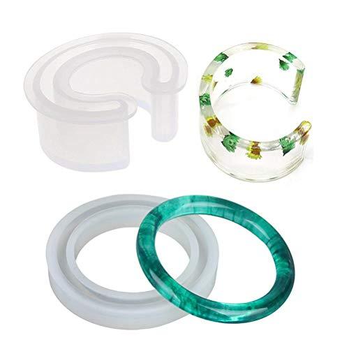 WarmShine Silicone Bangle Mold Round Bracelet C Font Bracelet Mold, Silicone Bracelet Casting Mould Resin Bangle Open Cuff Bracelet Jewelry Mold