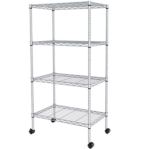 JS HANGER Wire Shelving Unit 4-Tier Heavy Duty Height Adjustable Rolling Metal Shelves for Storage 440 lbs Capacity 2323W X 134D X 4724H Silver