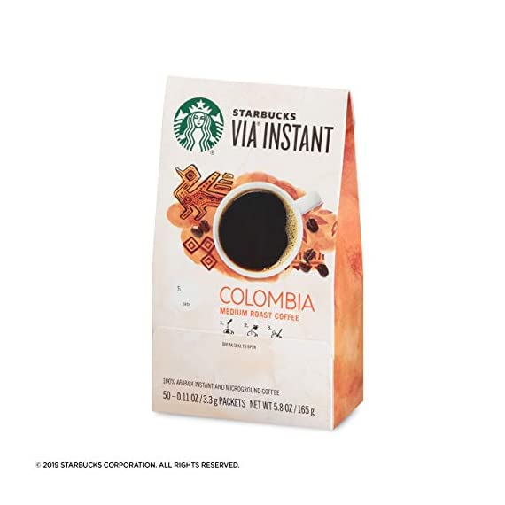 Starbucks VIA Ready Brew Colombia Coffee, 50-Count 3 Made only with high-quality arabica coffee beans Starbucks via instant Italian Roast coffee is roast and sweet with a rich, deep flavor and notes of caramelized sugar Just tear open a packet of Starbucks via instant Italian Roast coffee, add hot water, wait 10 seconds and stir. No coffee machine or grinder needed
