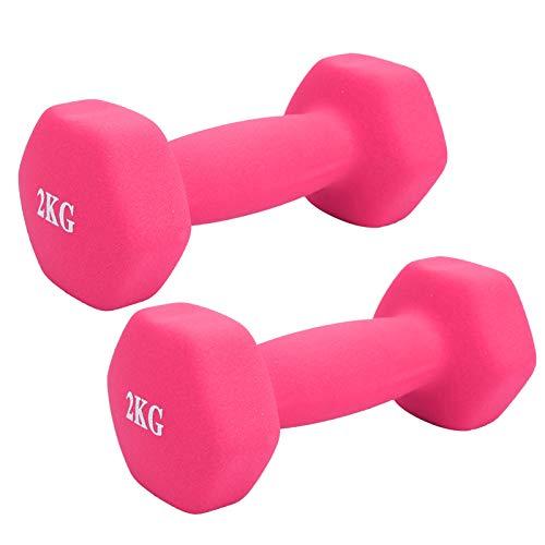 Mancuerna hexagonal con revestimiento de PVC duradero para hombres y mujeres para adultos para niños (rosa)
