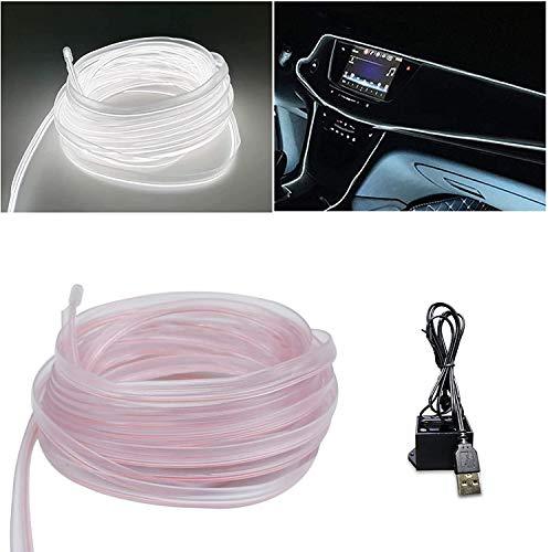 Luces de neón con adaptador USB para luces interiores de coche (blanco, 3 m)