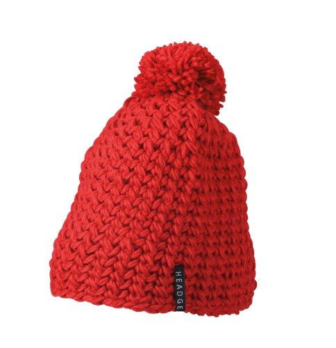 Myrtle Beach Bonnet en Crochet avec Pompon Uni Rouge Rouge Taille Unique