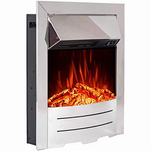 Noble Flame Bedford – Elektrokamin-Einsatz – Moderne LED Technik inkl. Heizfunktion – täuschend echtes Feuerambiente - Chrom