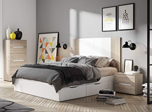 Miroytengo Dormitorio Matrimonio 150 cm Color Blanco Mate y Sable Estilo Moderno (cabecero + 2 mesitas + cómoda)
