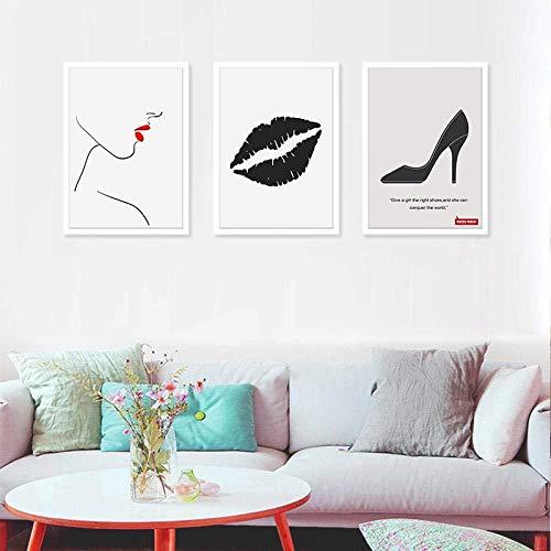 Leinwand Malerei Sexy Girl Lips Hochhackige Abstrakte Nordic Leinwand Malerei Poster Drucken Wandkunst Wohnzimmer Bild Home Decor 50x70 cm Ungerahmt