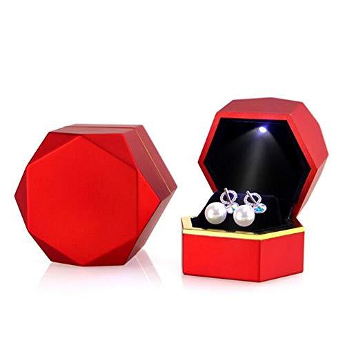 JLYLY Joyería Joyería Hexagonal Llevó La Caja Pulsera Anillo Colgante Collar De La Caja De Joyería De La Propuesta De Ma Matrimonio,Ring Box L
