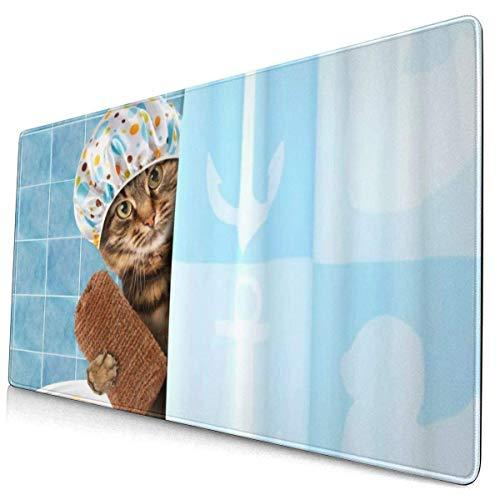 Mousepad Funny BaCat mit Handtuch-Entenspielzeug in der Badewanne Gaming Mouse Pad Rechteck Gummi Mauspads Mat.-Nr.
