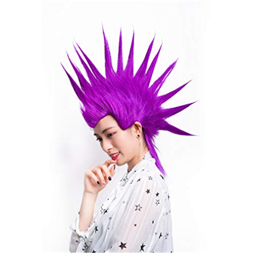 FLYFO Peluca Street Punk De Los Años 80, Peluca De Color Rogal Rainbow Punk Rocker para La Moda Mohawk Wig Party Costume Accesory, (8 Colores para Elegir),Púrpura