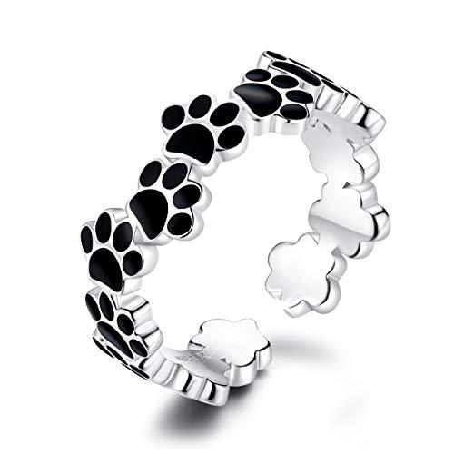 DOYIS Anillos Mujeres Abiertos de Plata esterlina Paw Puppy Dog Anillo de Compromiso Ajustable Anillo de Boda Band Toe Ring para Mujeres niñas
