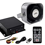 DORRALE 100W Car Police Siren DS7300 Wireless Amplifier with Black Meter Ultra Slime Flat Speaker,DC12V,Multi-Tones,Two Lights Control,Emergency Electronic PA System for Police Car