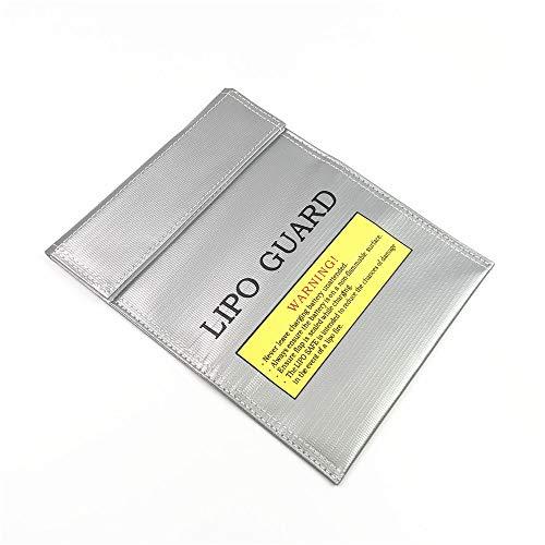 SHUGJAN 1pc incombustible Bolsa RC lipo lipo batería a prueba de fuego protector de la seguridad Bolsa de seguridad de carga saco protector de la seguridad de la batería de plata 180 * 230 mm Piezas d