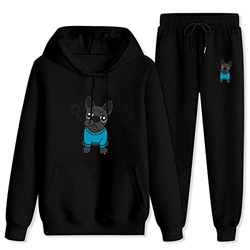 Jsmllia Men's Tracksuit French Bulldog Hoodie Sweatpants,3D Print Pullover Hoodie for Men with Pockets X-Large Black