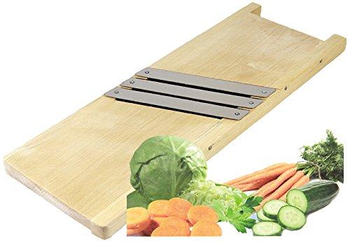 Wamat Krauthobel Sauerkrauthobel Gemüsehobel Holz 3 rostfreien scharfen Messern 44 cm
