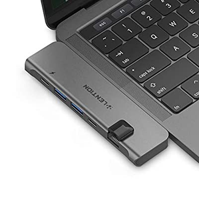 LENTION USB-C Portable Hub 40Gbps Thunderbolt 3, 100W Power Delivery, 4K HDMI, 2 USB 3.0, Type C, Gigabit Ethernet Adapter Compatible with 2019-2016 MacBook Pro 13/15, New MacBook Air (Space Gray)