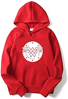 The SV Style Unisex RED Hoodie with White Print: Wonder Woman/Printed Red Hoodie/Graphic Printed Hoodie/Hoodie for Men & Women/Warm Hoodie/Unisex Hoodie