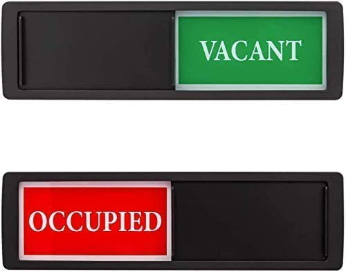 Privacy Sign, Vacant Occupied Sign for Home Office Bathroom Restroom Conference Hotels Hospital, Privacy Slide Door Sign Indicator Tells Whether Room Vacant or Occupied, 7'' x 2'' - Black