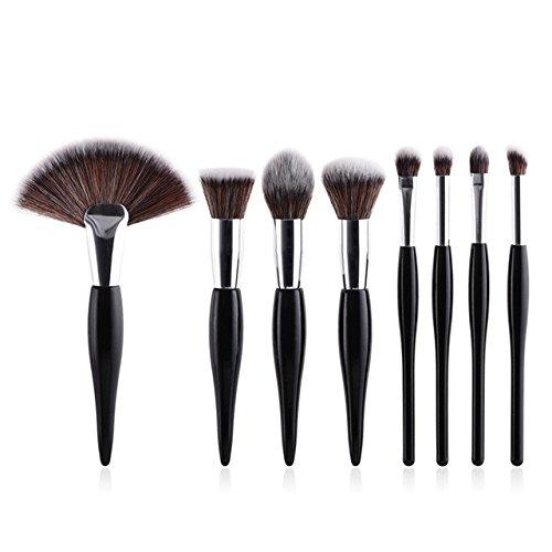Maquillage De Brosses 8Pcs Pinceaux Synthétique Souple Tête Poignée En Bois Brosses Plat Fan Pinceau Pour Femmes Fard À Paupières Visage Maquillage,Noir