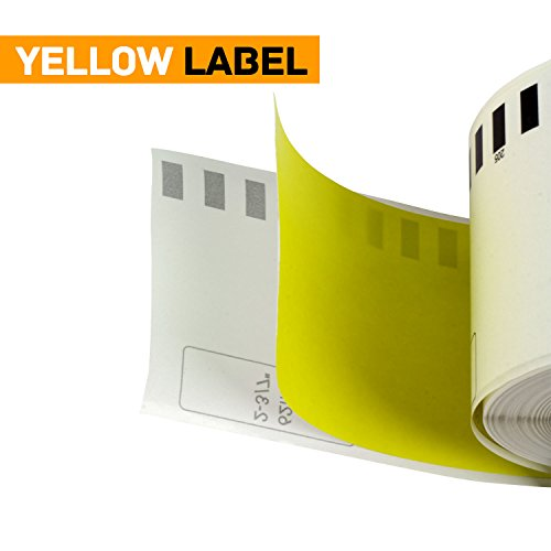 OfficeSmartLabels Brother Compatible DK4605 DK-4605 Black on Yellow Removable Continuous Length Film Tape (2.4 in x 100 ft (62 mm x 30.4 m)) - Label With Permanent Cartridge (Non-Detachable) (1 Pack) Photo #3