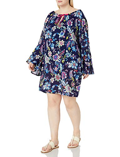 Anne Cole Women's Plus Size Tunic Cover Up Dress, Holiday Paisley, 22-24