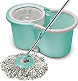 Spotzero by Milton Smart Spin Mop with Bucket (Aqua Green, Two...