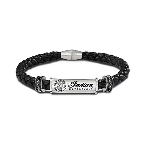 The Bradford Exchange Indian Motorcycle Legacy Men's Bracelet – Features Solid Stainless Steel Cylinder With The Indian Logo And Etched Legend On The Back