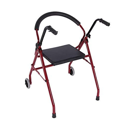 SMX Drive Rollator Walker met verstelbare hoogte opvouwbare stoel, lichtgewicht draagbare opklapbare en rugsteun en gevoerde zitting
