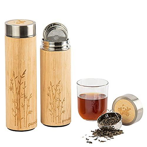 pandoo Tea to-go Termo de bambú 480ml, botella térmica de doble pared, termo de viaje, termo para té, botella de agua con colador de té de acero inoxidable sin BPA