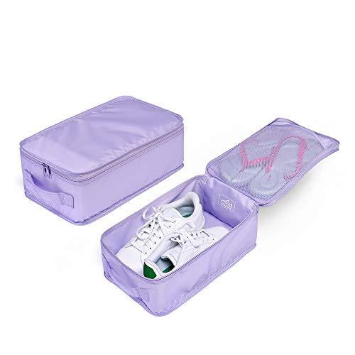 Travel Shoe Bags, Foldable Waterproof Shoe Pouches Organizer-Double Layer (2 Lavender Shoe Bag)