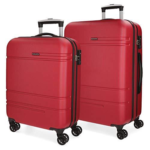 Movom Galaxy Juego de maletas Rojo 55/69 cms Rígida ABS Cierre TSA 108L 4 Ruedas Dobles Equipaje de Mano