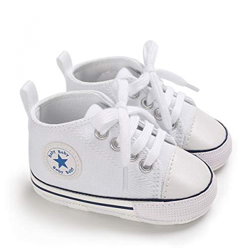 DEBAIJIA Lauflernschuhe Baby Segeltuchschuhe 6-12M Kinder Turnschuhe Jungen Leichtes Leinen Schuhe Mädchen Weiche Sohle 18 EU Weiß (Etikettengröße 2)