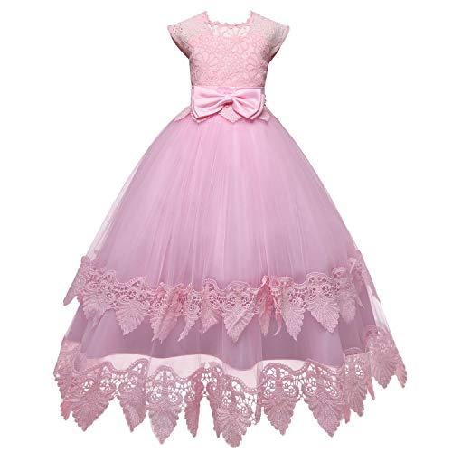 TTYAOVO Mädchen Bowknot Blumen Spitze Kleid Prinzessin Hochzeit Brautjungfer Formale Partykleid 6-7Jahre Rosa