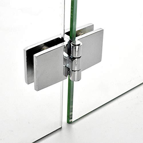Glasscharniere, 90/180 Grad Glas Türklammer Klammer Scharniere, verstellbare rechteckige Doppelklammer Scharniere Ersatz für Glasdicke 5 mm-8 mm