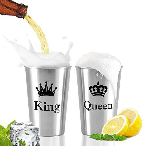 """MCleanPin 2 x 500ml Edelstahlbecher """"King & Queen"""" Tassen Set Hochzeitsgeschenke Paare Geschenke für Hochzeit Valentinstag Stapelbare Trink Gläser Camping"""