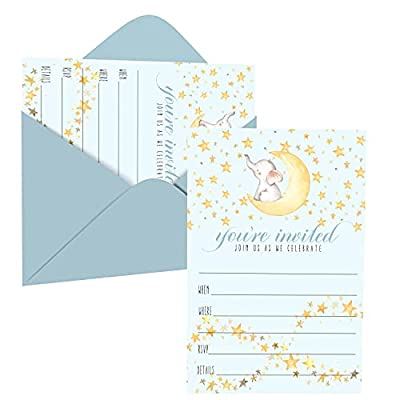 Star and Elephant Invitations with Envelope Pack of 15 – Blank Invites for Boys Baby Shower, Reveal, Sprinkle – Twinkle Starry Moon Event Designs Blue – Printed 4x6 Size Card Set - Paper Clever Party by Paper Clever Party