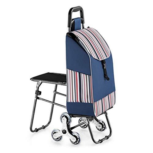 JIAN Trolley driewieler opvouwbare trolley met de populaire zitting, licht, afneembaar, waterdicht, Oxford-stoffen tas voor binnen / buiten / reizen / kantoor (kleur