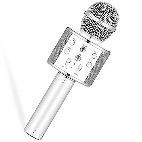 GARD WS-858 Microfono Wireless Bluetooth Karaoke Microphone, 3 in 1 Cassa Autoparlante Portatile Bluetooth Home KTV Player, Qualità audio TOP compatibile con PC/Telefono, Android/IOS (SILVER GRAY)